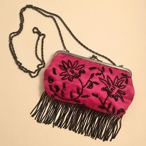 Cache Pink Beaded Clutch Purse